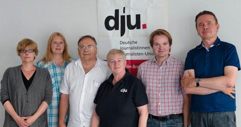 Schirrmacher (stellvertretende dju-Landesvorsitzende), Silke Leuckfeld (stellvertretende dju-Landesvorsitzende). Nicht auf dem Foto: Henrik Nürnberger (Jugendvertreter)